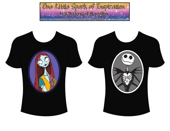His & Hers - Jack Skellington and Sally Disney Couples T-Shirts ...