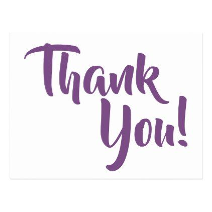 Violet Purple Calligraphy Thank You Postcard Calligraphy