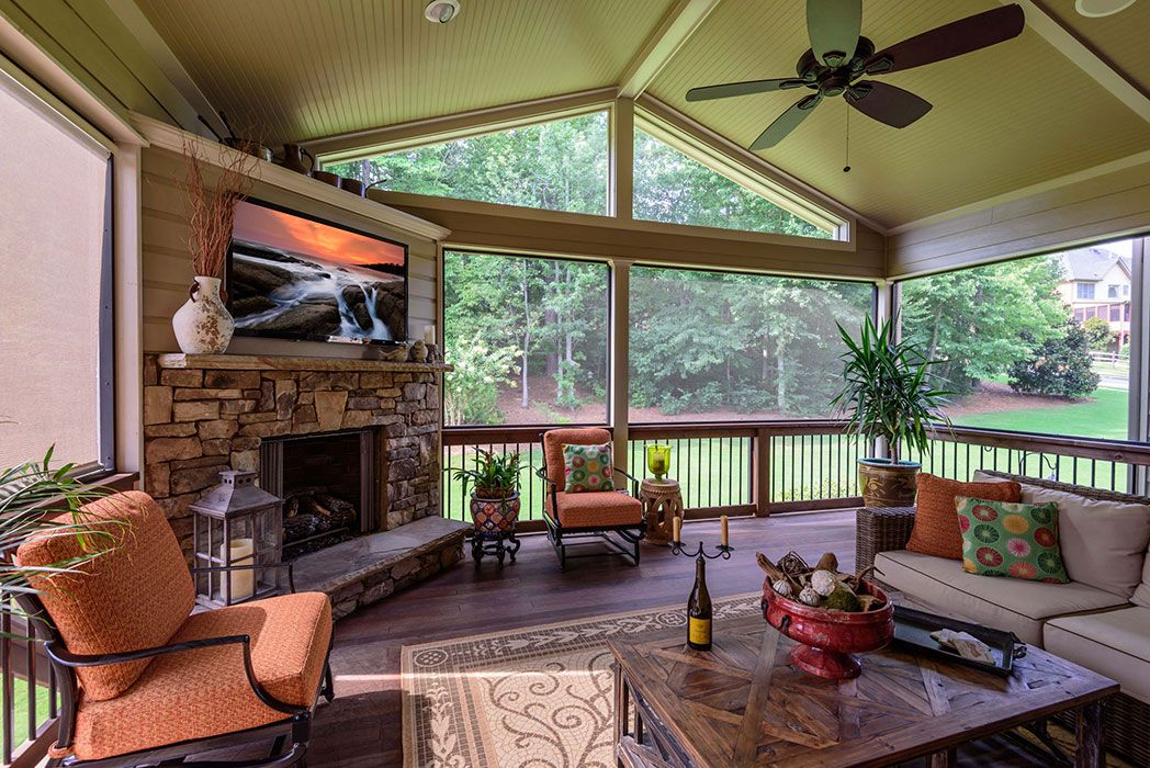 Add A Screen Porch with Fireplace-Alpharetta ADB Home - Outdoor