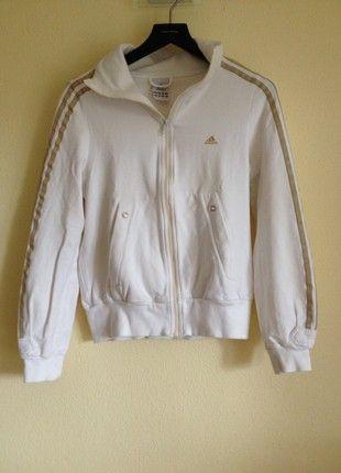 weiße Sportjacke von Adidas mit goldenen Streifen, Gr. 36 f39783e499