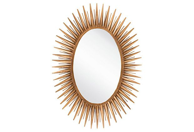 42 Oval Starburst Mirror Gold On Onekingslane