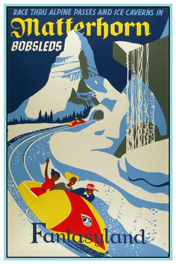 Vintage Disney Collectors Poster 12x18 Fantasyland Matterhorn Disney Posters Vintage Disney Posters Vintage Disneyland