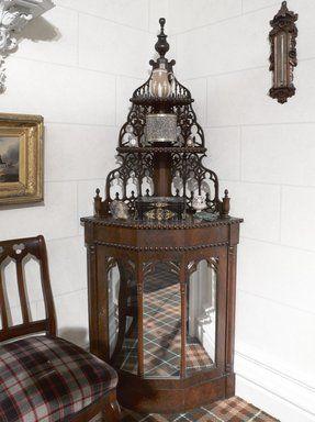 C1860 Gothic Corner Etagere Cabinet, Colonel Robert J. Milligan House  Parlor, 1854