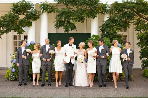 Bridal party all dressed in white and black: Bridal Bliss Wedding Bridalbliss.com | Portland Wedding | Oregon Event Planning and Design | Bethany F Photography