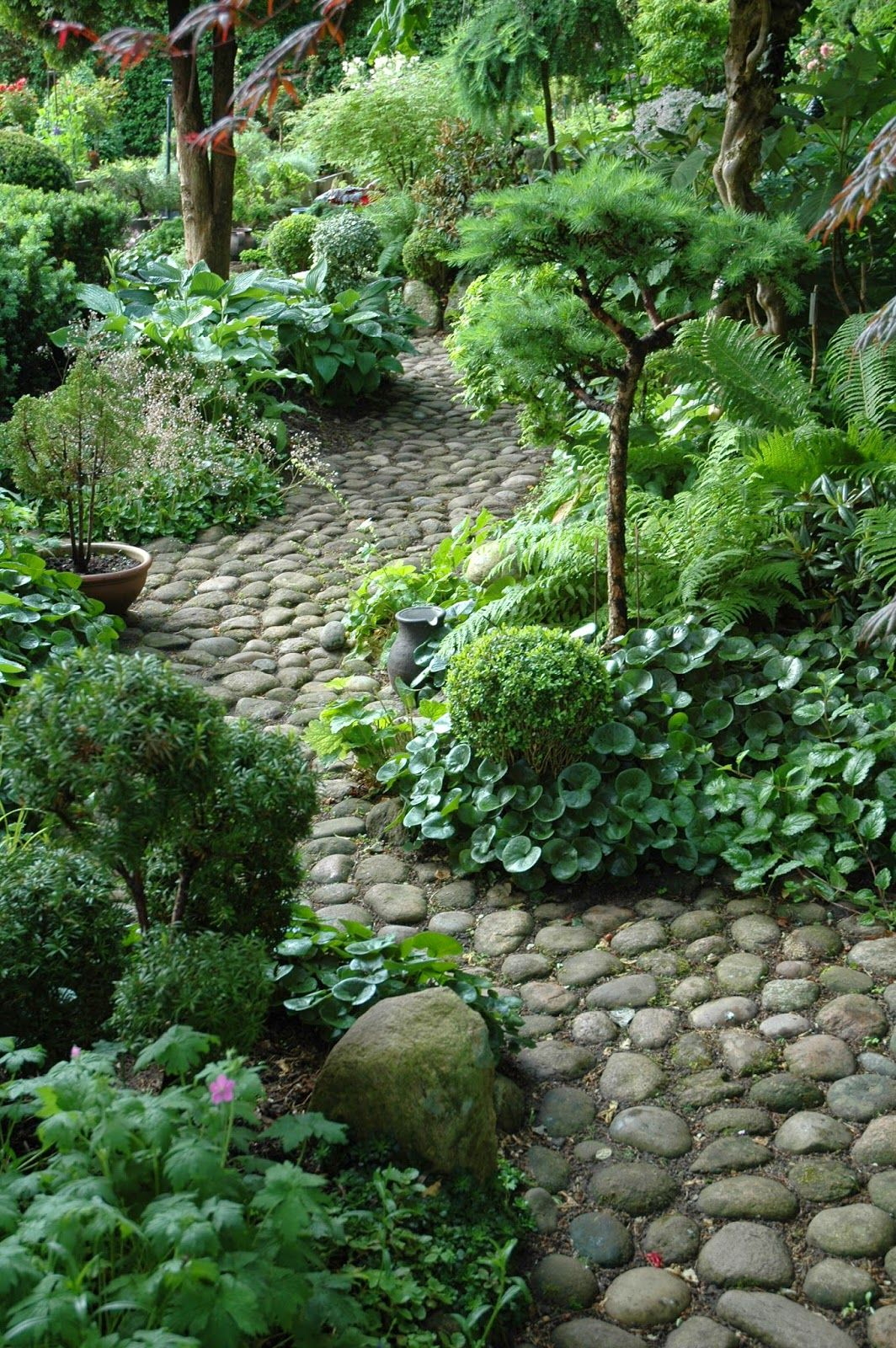 Shade gardens, rock gardens, interesting rock integration into gardens/containers
