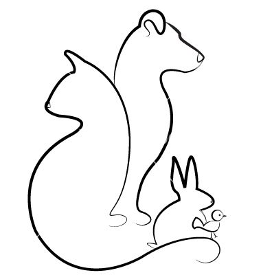 Cat Dog Rabbit And Bird Silhouettes Logo Vector 1098503 By Glopphy On Vectorstock Animal Line Drawings Rabbit Silhouette Dog Tattoos
