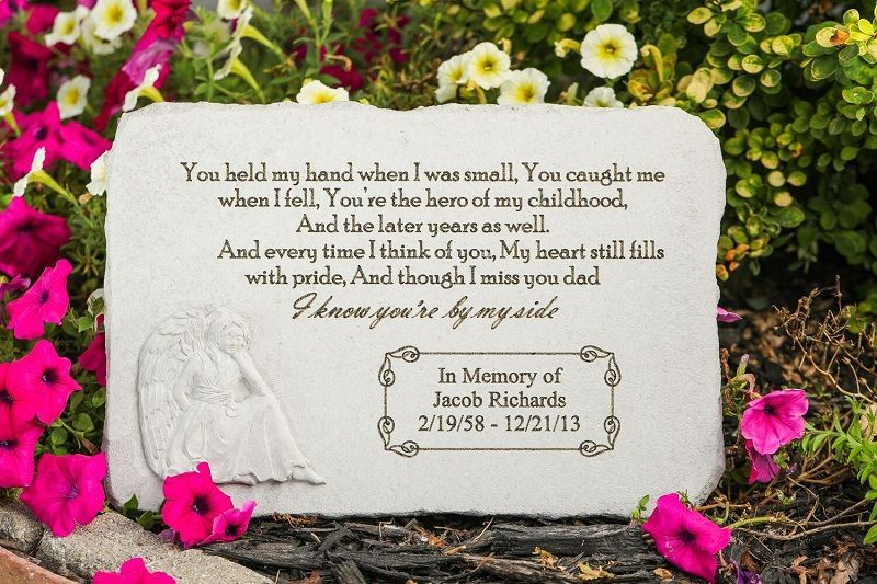 Pay Tribute To A Special Father With The Personalized Memorial Garden Stone You Held My Hand Crafted Personalized Memorial Stones Memorial Stones Hold My Hand