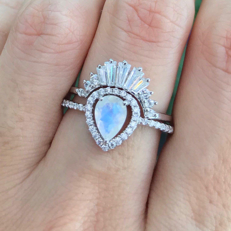 Moonstone Vintage Halo Pear Engagement Ring SetMoonstone