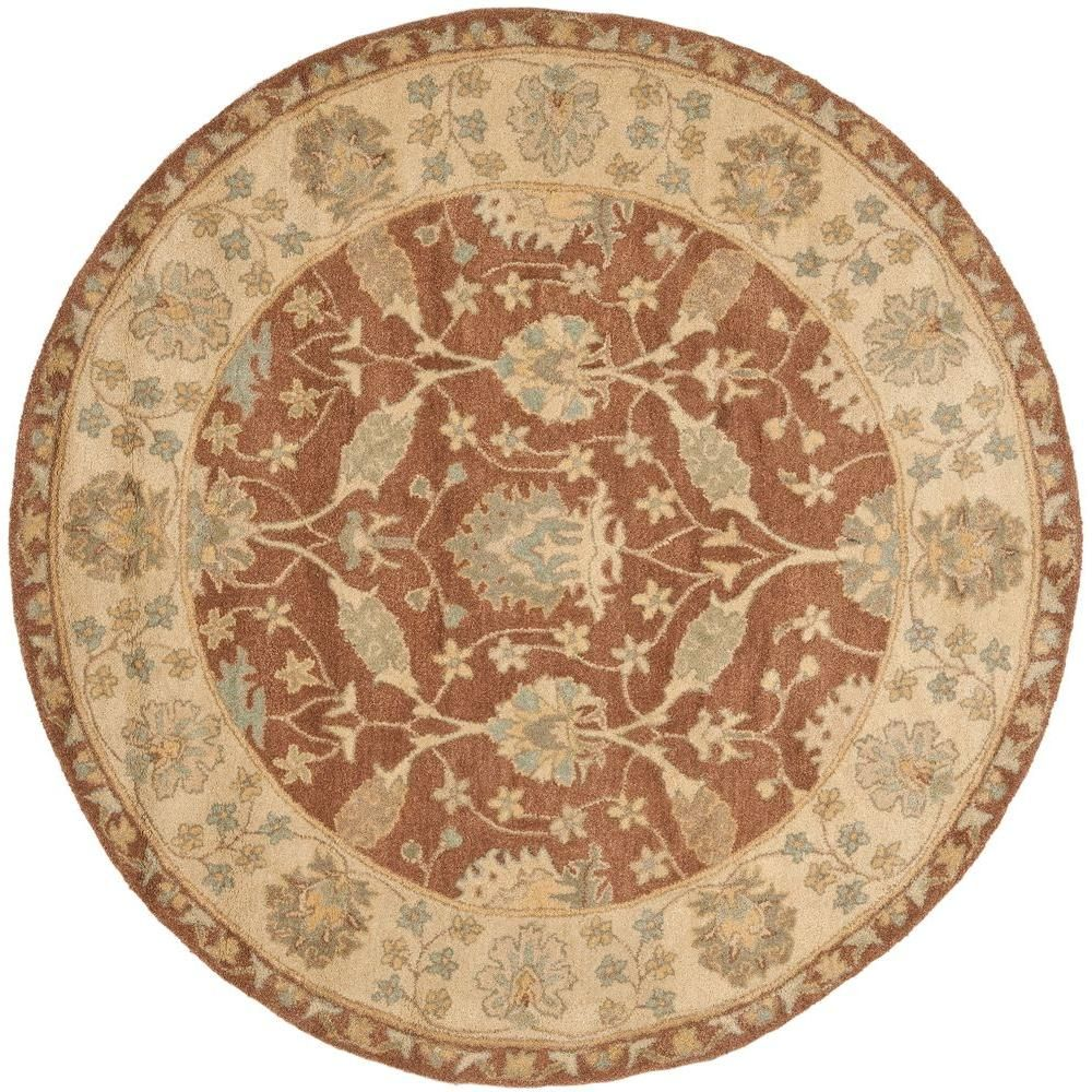 Safavieh Antiquity Brown Taupe 4 Ft X 4 Ft Round Area Rug