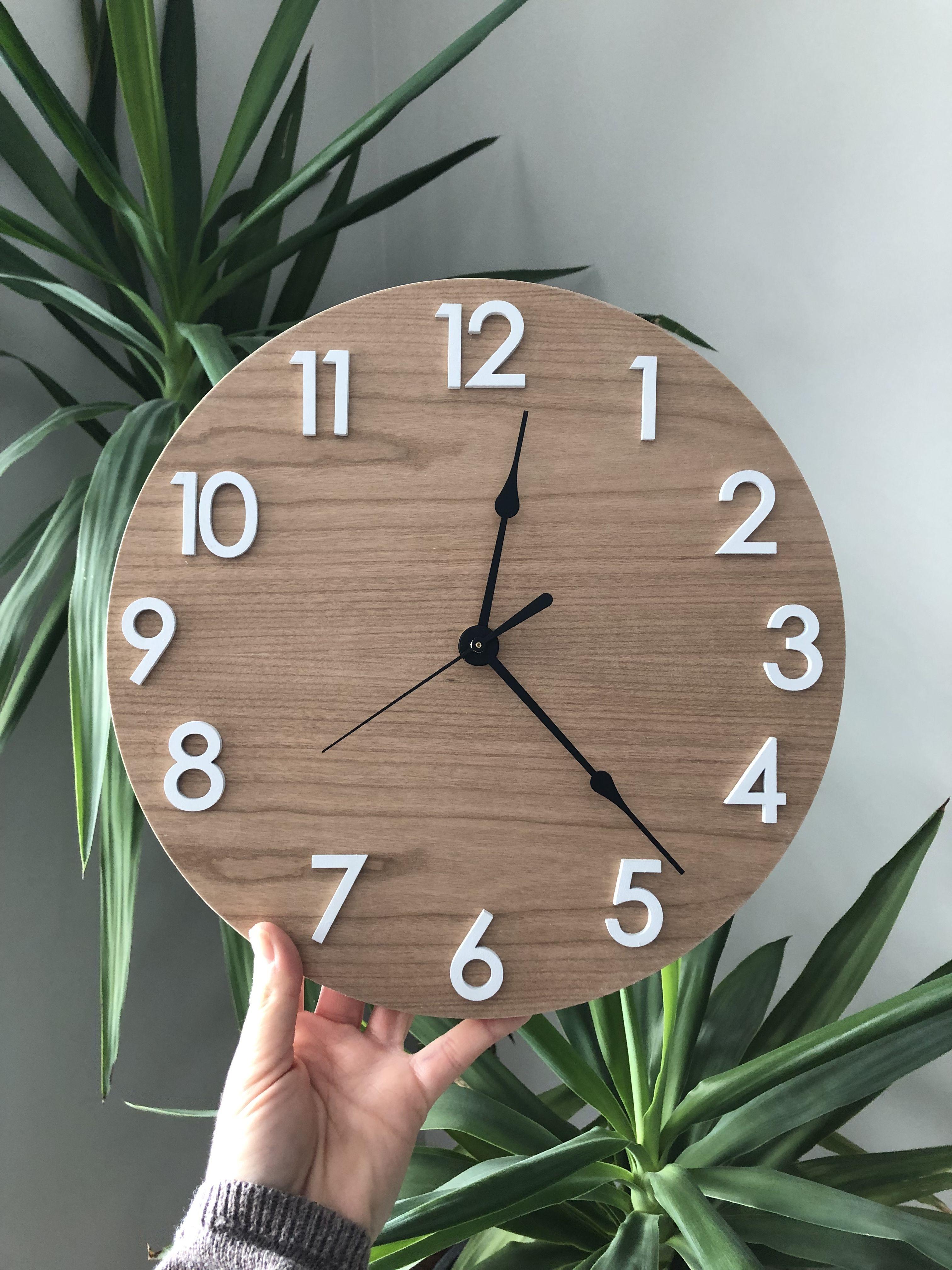 Handmade Wooden Clock In 2020 Black Wall Clock Contemporary Wall Clock Wooden Clock