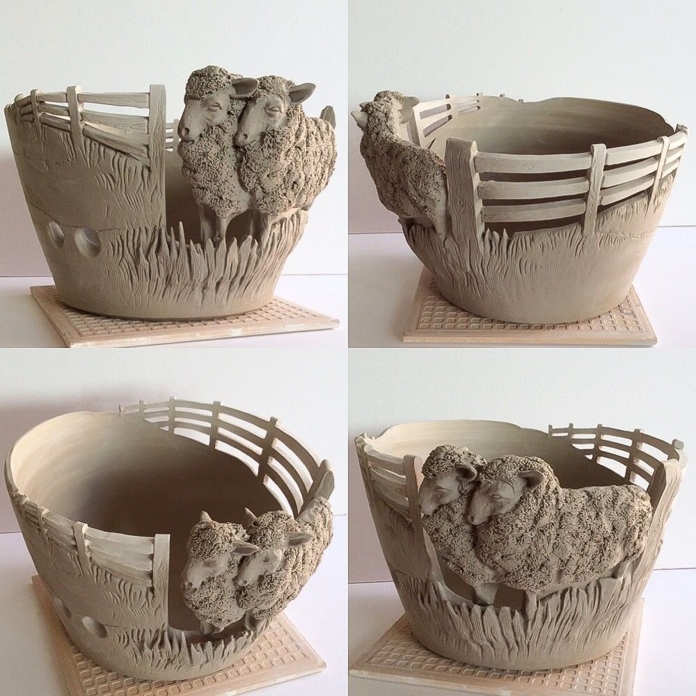 """YARN BOWL - Fresh out of the studio today ..another made to order Sheep yarn bowl. 7.5"""" diameter"""
