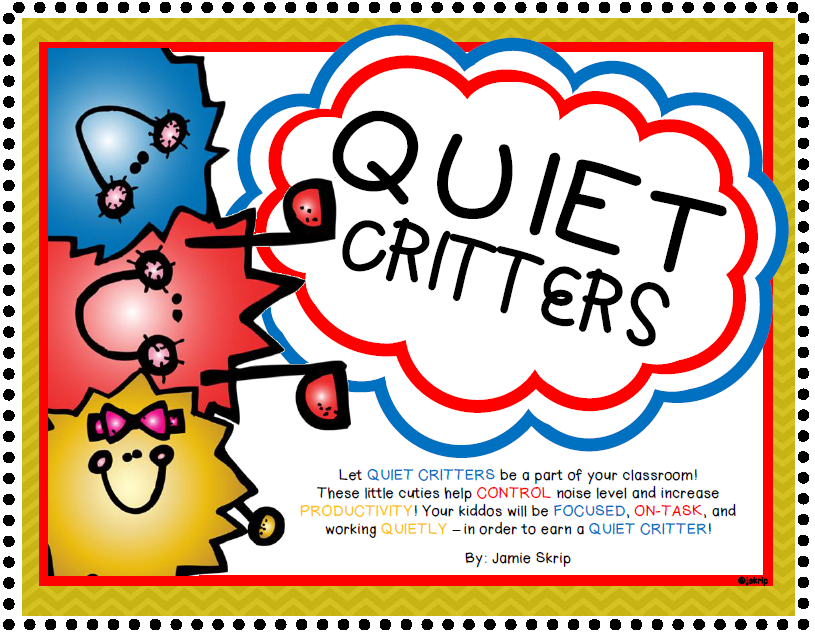 Quiet Critters [Control Noise Level and Increase Productivity] #quietcritters Let QUIET CRITTERS be a part of your classroom! These little cuties help CONTROL noise level and increase PRODUCTIVITY! Your kiddos will be FOCUSED, ON-TASK, and working QUIETLY – in order to earn a QUIET CRITTER! #quietcritters
