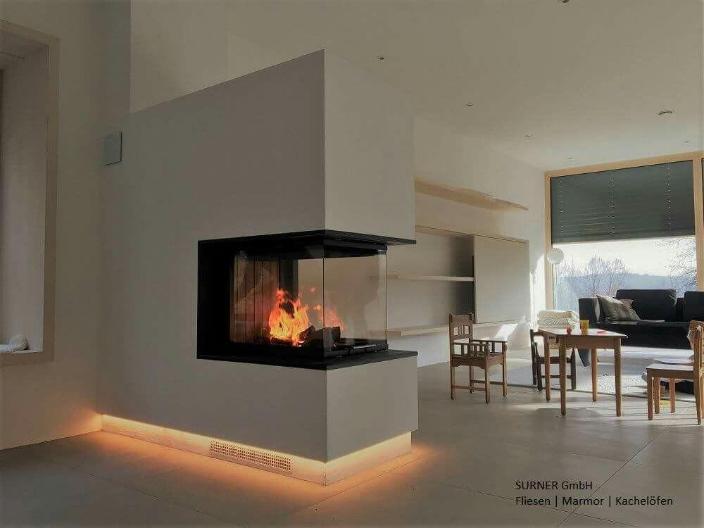 moderne kaminanlage 3 seitig kamin panorama feuer wohnen moderne wohnzimmer - Wohnzimmer Feuer