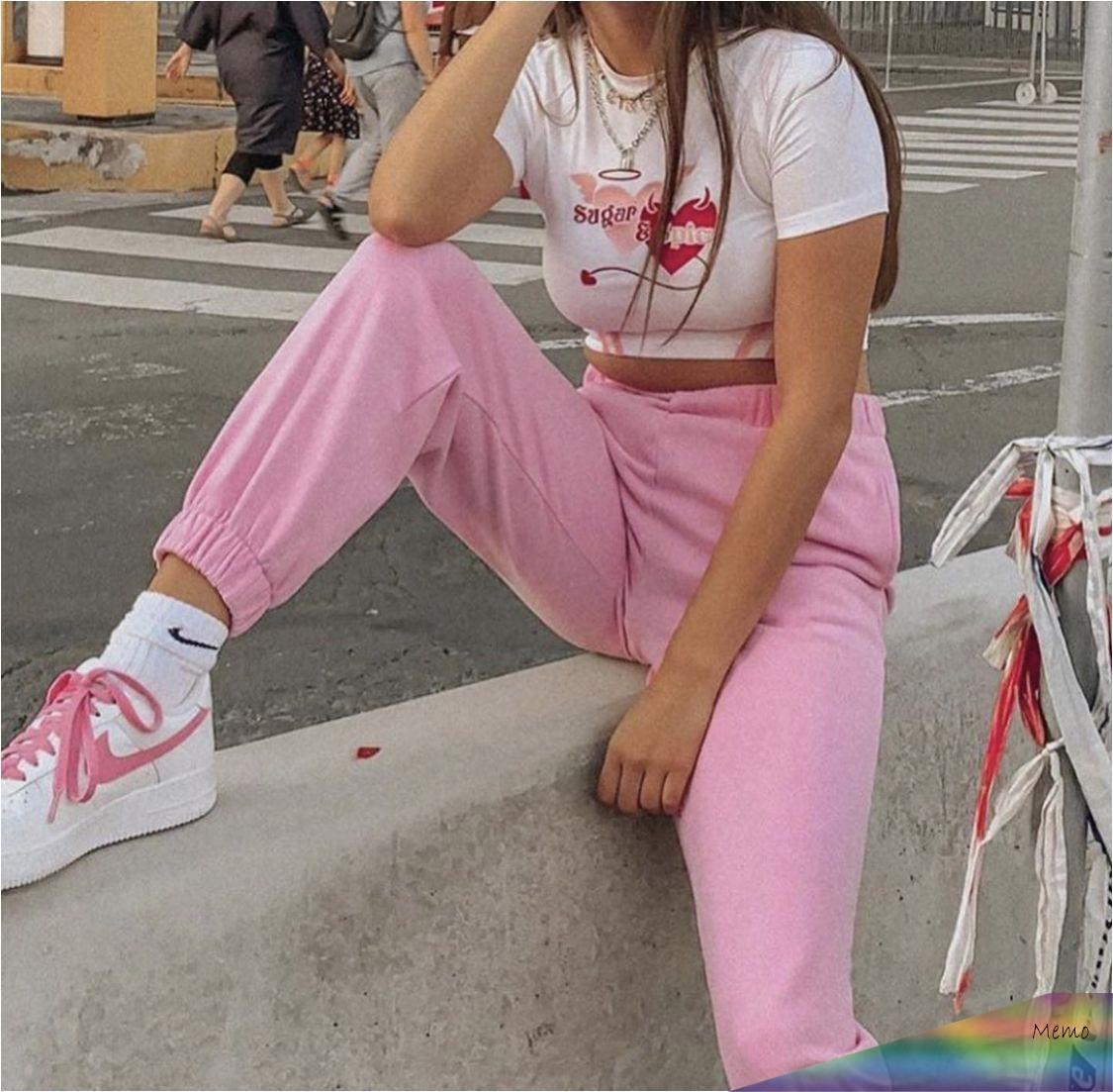 , 19.01.2020 – Pink aesthetic outfit fashion cute white embroidered embroidery Nike's high waist high waist trousers pants sweatpants 90s 2000s y…, Family Blog 2020, Family Blog 2020
