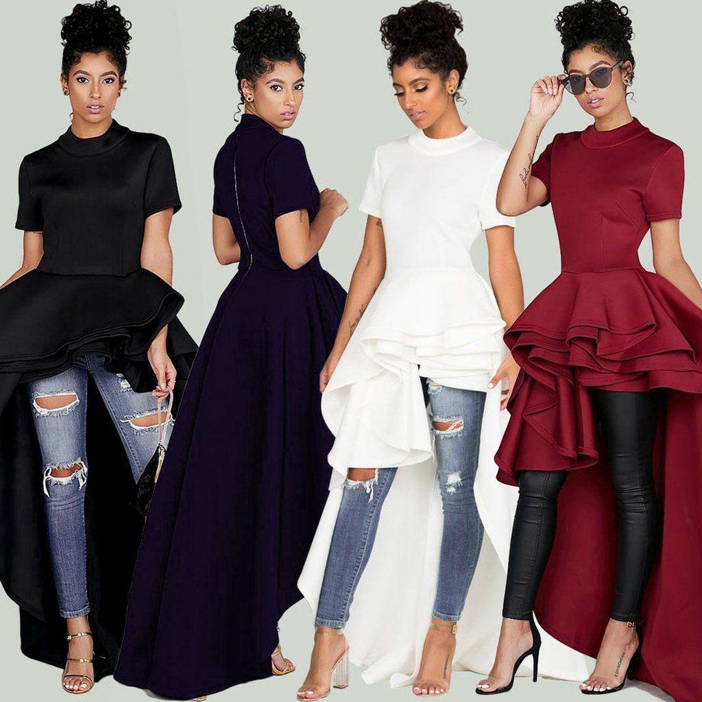 d31d4914005 Women Short Sleeve High Low Peplum Dress Bodycon Casual Party Club Dress