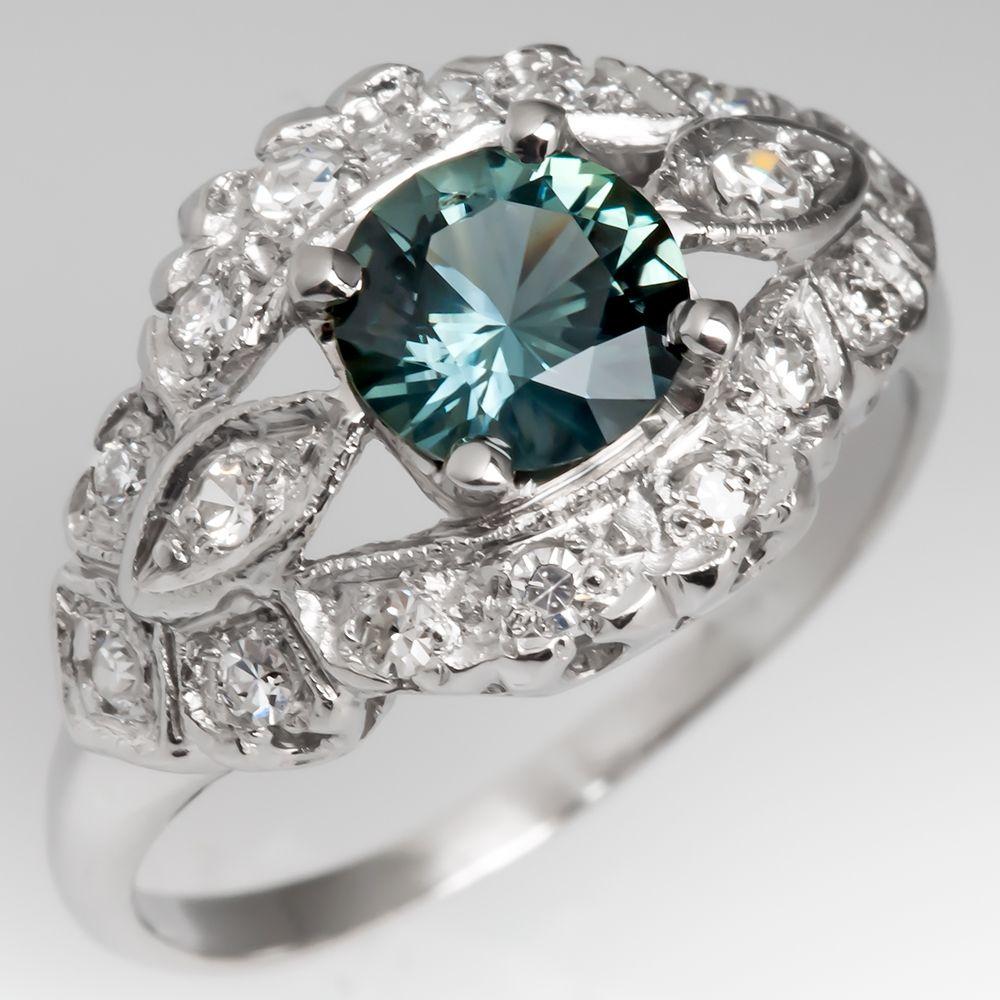 Vintage Platinum Low Profile Diamond Ring with Blue Green