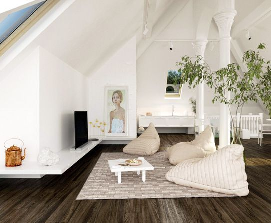 Beautiful Upstairs Second Living Room. I Like The Idea Of Bean Bags For Kids And The