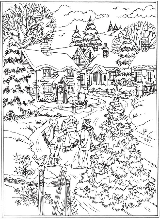 Welcome To Dover Publications Christmas Coloring Pages Coloring