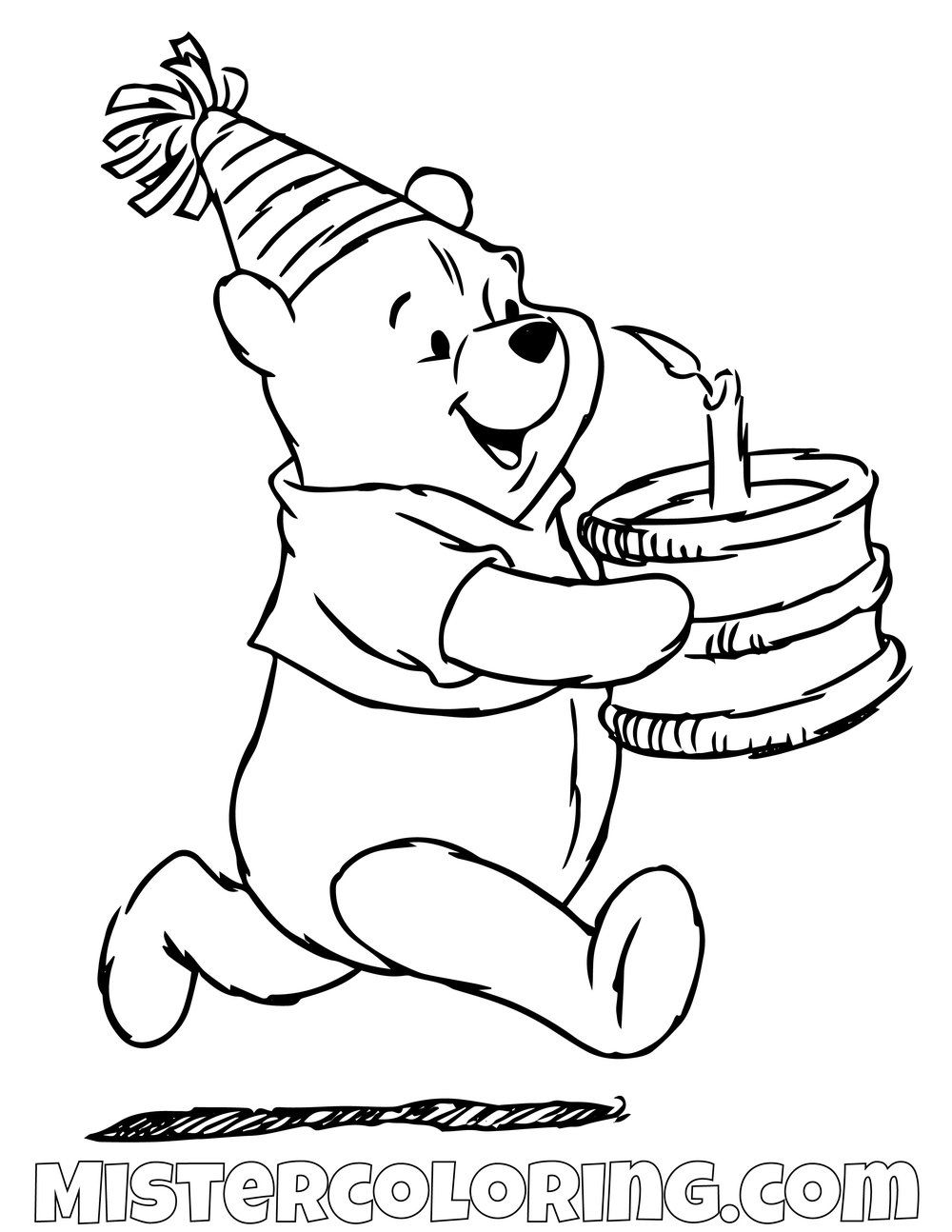 Winnie The Pooh Running With Cake Coloring Page Bear Coloring