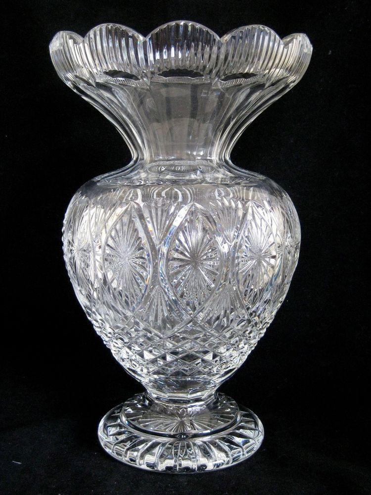 Vtg Waterford Cut Crystal Master Cutter Footed Centerpiece Vase Hand