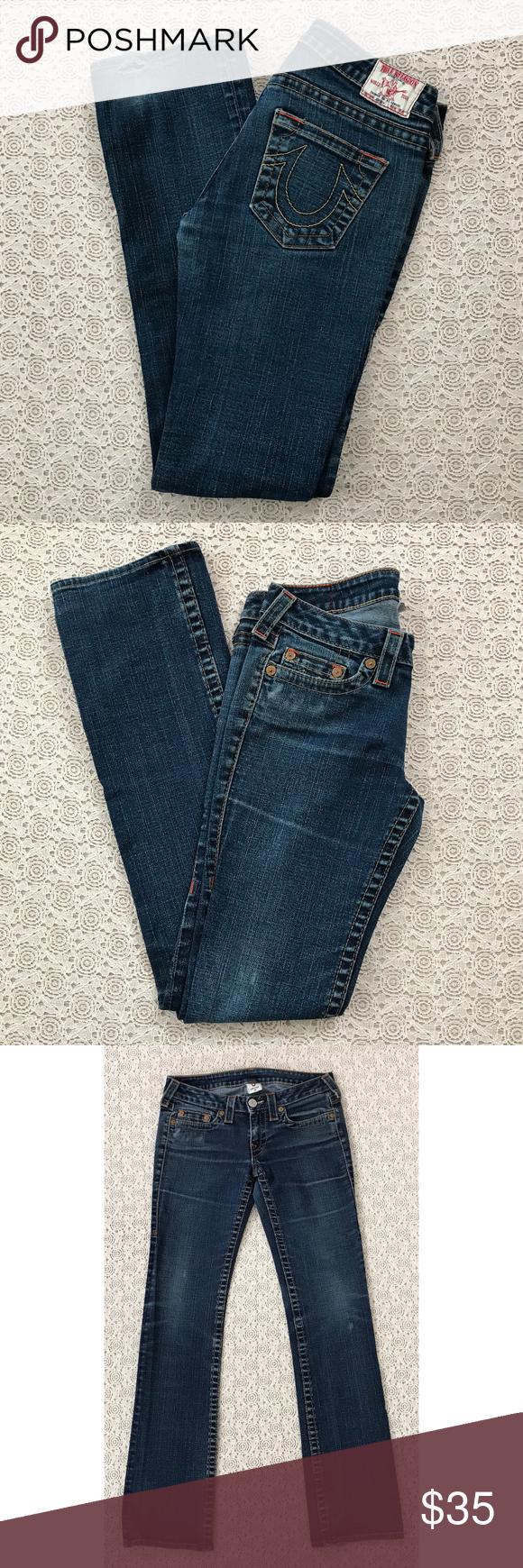 cf85267073e3f1 True Religion Johnny Straight Leg Jeans True Religion Johnny Straight Leg  Jeans with Orange Stitching • Measurements taken laid flat …