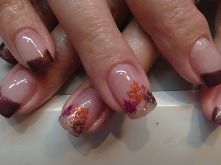 Autumn leaves nail art on a golden french manicure. Are you looking for  autumn fall nail colors design for this autumn? See our collection full of  cute ... - Fall Wedding Nails Images KK22 Nails Pinterest Nail Nail