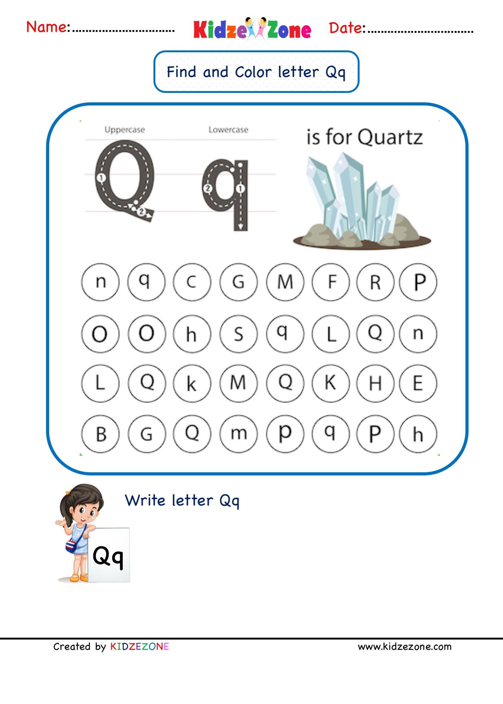 Letter Q Find And Color Worksheet In 2020 Letter Q Worksheets Kindergarten Letters Lettering