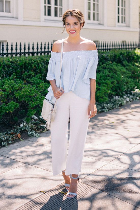 b364f35fb3470 ... summer trends 2016, casual outfit, work outfit, night out outfit - blue  off the shoulder top, white culottes, blue heeled sandals, white shoulder  bag