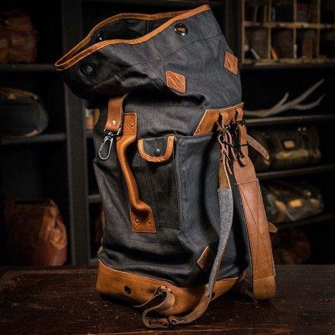 b63e98dcfedd Yosemite Vintage Military Duffle Backpack Bag - Waxed Canvas & Leather -  Charcoal