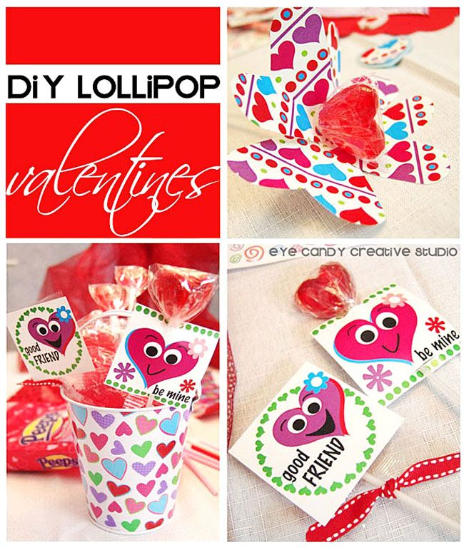 30 Superb Last Minute Easy Easter Crafts For Your Decor: Kids Valentine IDEAS :: Easy Lollipop Valentines