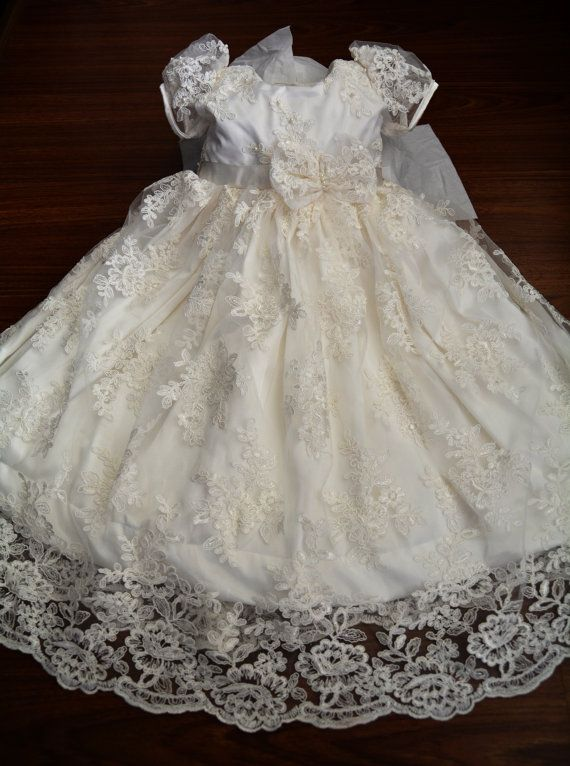 Baptism Gown Beaded Lace Christening Gown Baptism Dress Set | Diseño ...