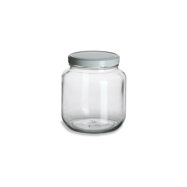Widemouth Clear Half Gallon Glass Jar 64Oz W White Metal Lid Cool Glass Kitchen Containers Inspiration