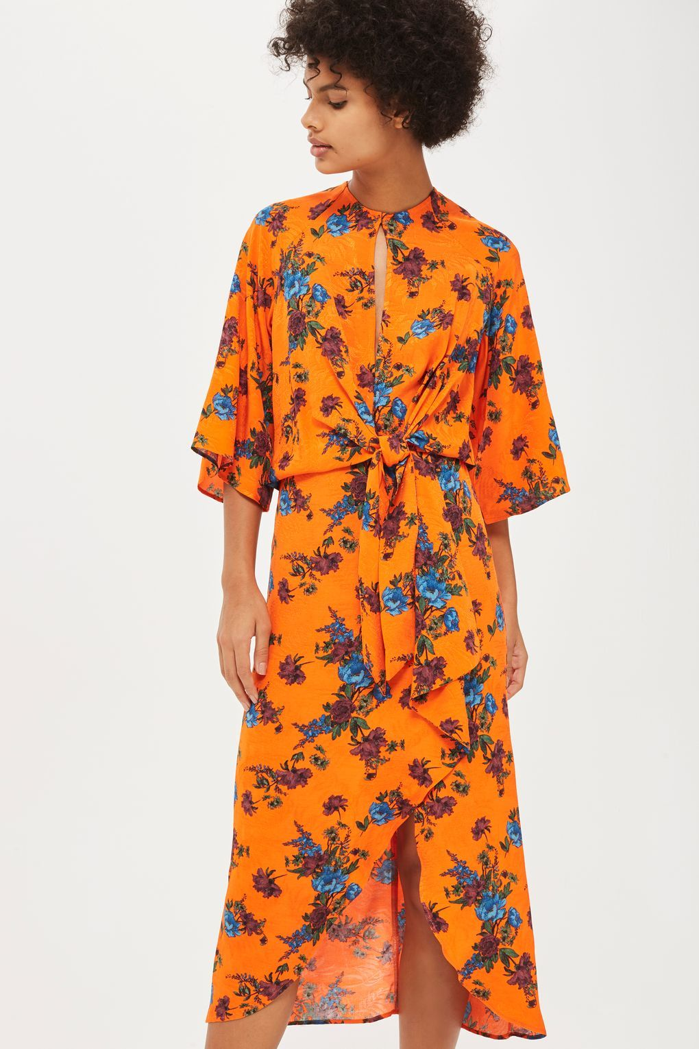b459b78d57 Orange Floral Knot Front Midi Dress - New In Dresses - New In - Topshop