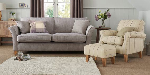 Buy Brompton Large Sofa 3 Seats Blended Woven Plain Dark Natural Low Tapered Sofa Large Sofa Woodland Living Room