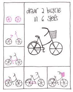 Draw A Bicycle In 6 Steps Doodle Drawings Lettering Easy Drawings