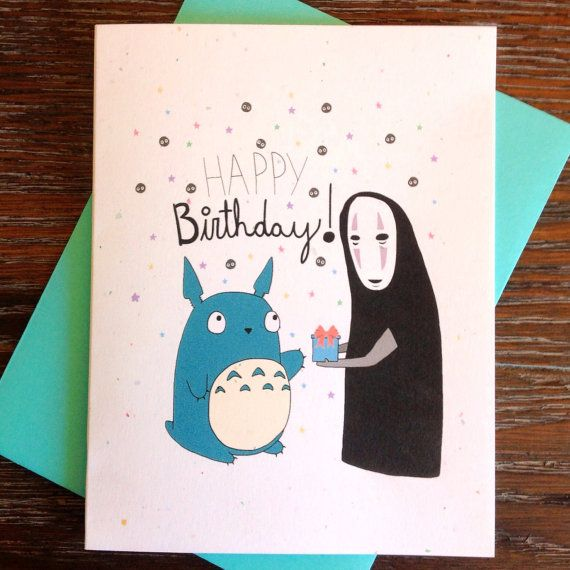 Totoro And No Face Happy Birthday Card – Totoro Birthday Card