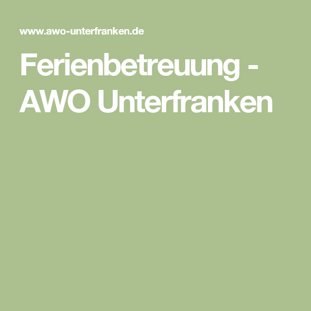 Ferienbetreuung - AWO Unterfranken
