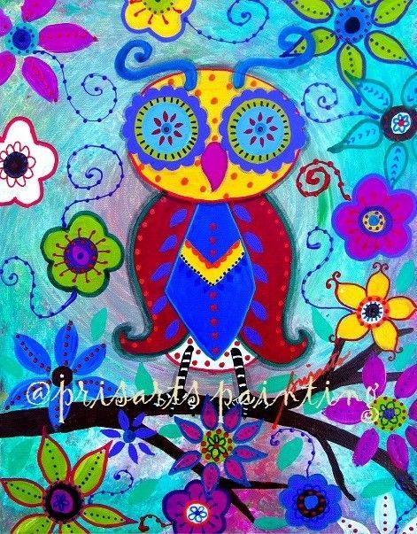 Mexican PRISTINE Owl Bird Whimsical Painting ORIGINAL Folk Art Flowers PRISARTS