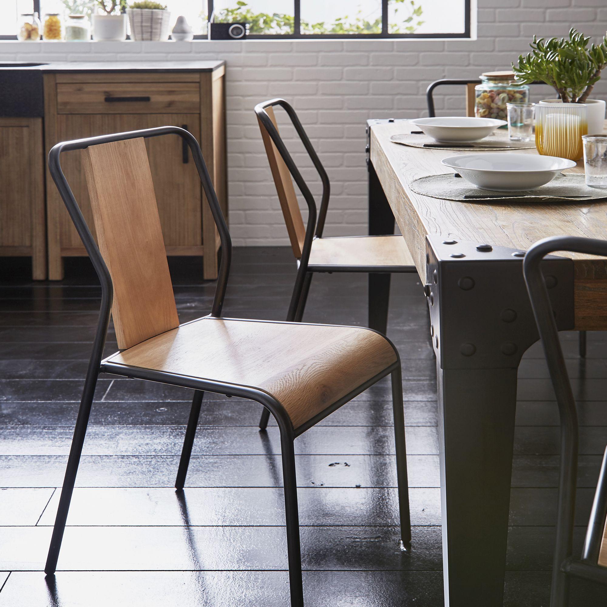 Chaise en chêne et métal - SIDONIE - chaise de salon  Mobilier de