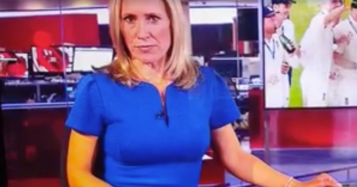 The X-rated scene was being watched on a screen by a man in headphones behind presenter Sophie Raworth