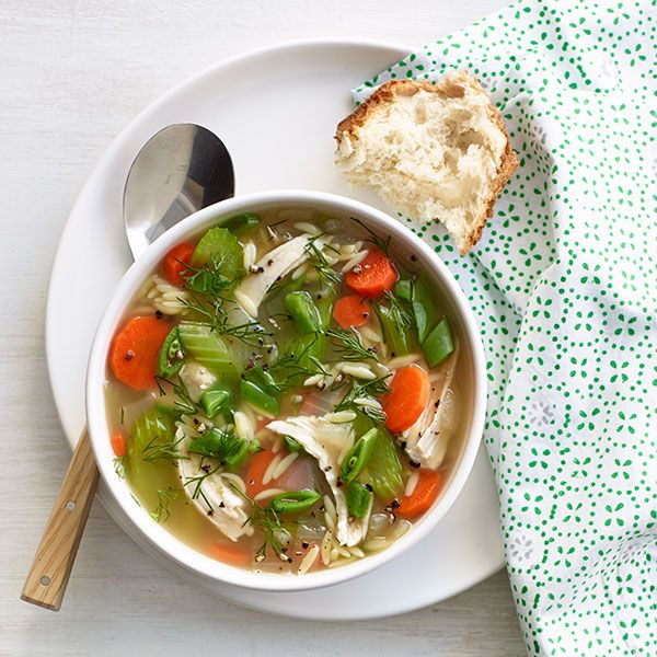This is a hearty and healthy chicken and orzo soup, flavored with lots of bright lemon, will satisfy you any night of the week. Recipe:  Lemony Chicken and Orzo Soup   - Delish.com