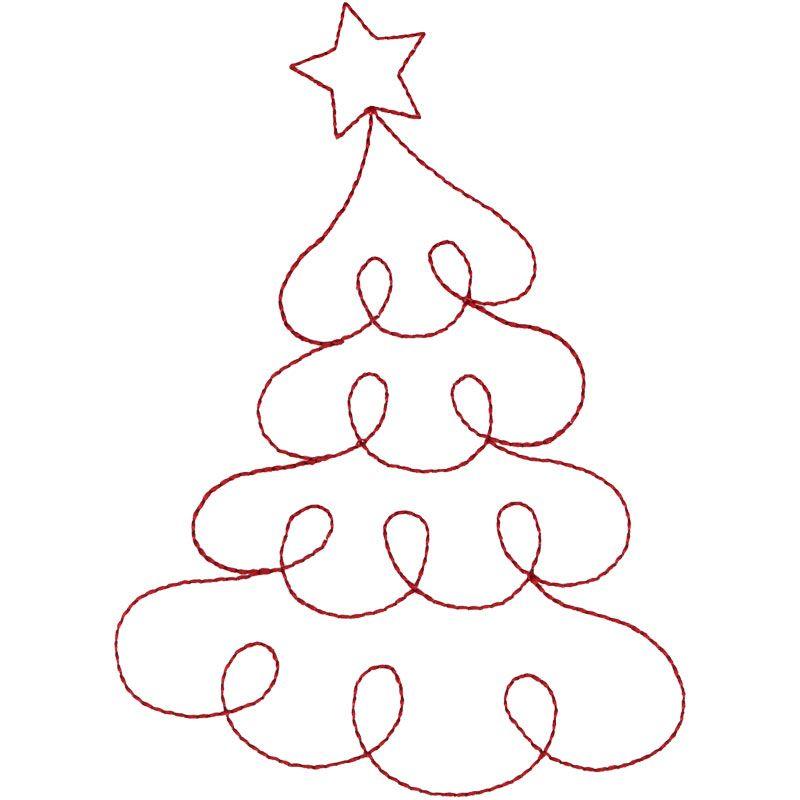Redwork Christmas Tree #HG295_48 | Dibujos, moldes, doodles ...