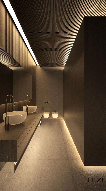3 int rieurs minimalistes et monochromatiques avec un clairage moderne toilet interiors and bath. Black Bedroom Furniture Sets. Home Design Ideas