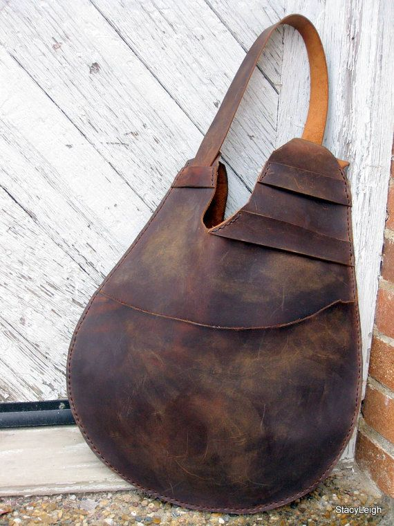Mustang Oiled Cowhide Leather Rustic Large Egg Shaped Bag by Stacy Leigh