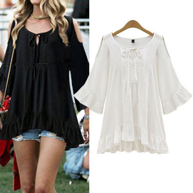 c7ff32fd8dbd1 Women Summer Ruffle Hem Flounced Sleeve Cold Shoulder Tunic Shirt Tops Plus  Size. Plus Size Xl-5Xl Women Loose Shirt Top Blouse Cut Out Shoulder Casual  ...