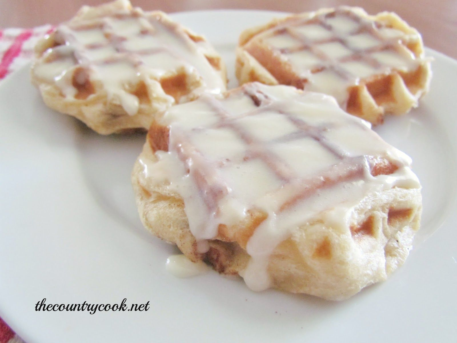 Mini Cinnamon Roll Waffles (packaged cinnamon rolls (like pilsbury) put on the waffle iron and cooked.  they say crispy outside and soft inside