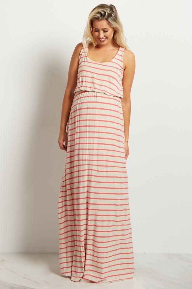 a4cb35186d191 Beige Coral Striped Racerback Maternity Maxi Dress | Maternity ...