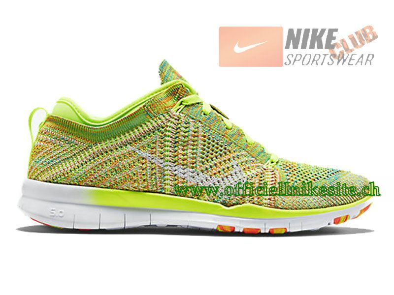 best authentic 84faa 5ff23 Nike Free TR 5.0 Flyknit GS - Chaussure Nike Pas Cher Pour Femme Blanc Vert  718785-700