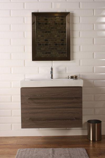 Naos 32 Grey Oak Modern Wall Mount Bathroom Vanity The Vanity