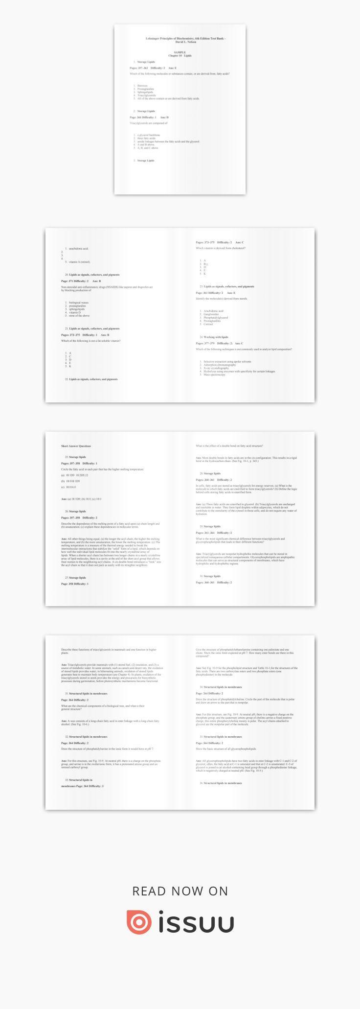 Dowwnload pdf test bank for lehninger principles of biochemistry 6th ...
